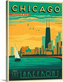 The Lakefront, Chicago, Illinois - Retro Travel Poster