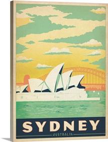 The Sydney Opera House, Sydney, Australia - Retro Travel Poster