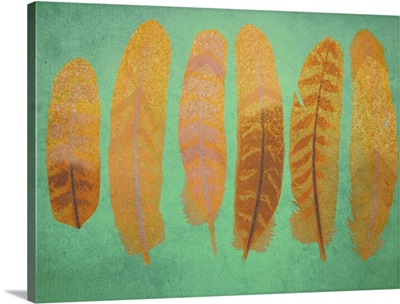 Turquoise and Gold Feather I