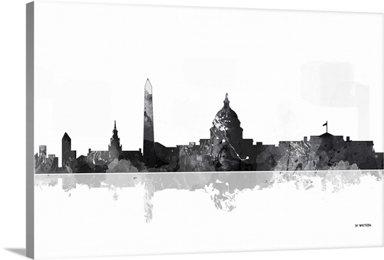 Washington Dc Wall Art washington dc skyline bw i wall art, canvas prints, framed prints