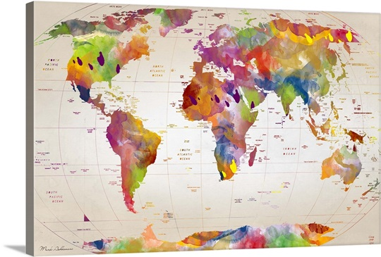 Watercolor Map Of The World Wall Art, Canvas Prints, Framed Prints ...