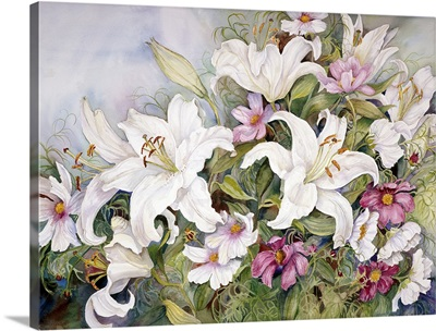White Lilies And Mixed Colored Cosmos