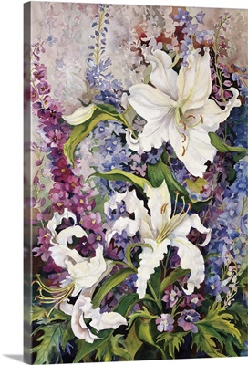White Oriental Lilies and Pink And Purple Delphinium