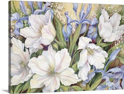 White Tulips and Blue Iris