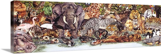 Wild Animal Collage Wall Art Canvas Prints Framed