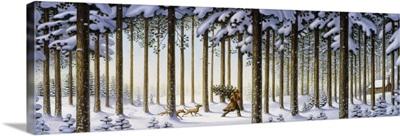 Winter Scene Man With Tree