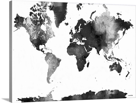 World Map BW I Wall Art Canvas Prints Framed Prints Wall Peels - Big black and white world map