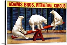 Adams Bros., International Circus, Vintage Poster
