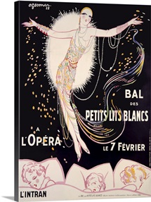Bal des Petits Lits Blancs, Vintage Poster, by Charles Gesmar