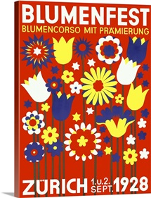 Blumenfest, Bloomfest Zurich, 1928, Vintage Poster