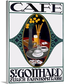 Caf?, St. Gotthard, Vintage Poster, by Otto Baumberger