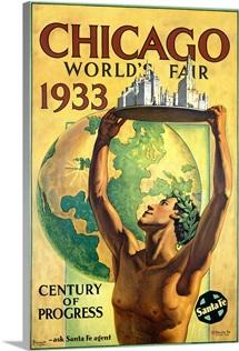 Chicago, Worlds Fair 1933, Vintage Poster, by Hernando Villa