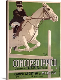 Concorso Ippico, Campo Sportivo di Marassi, Vintage Poster