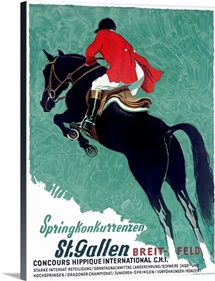 Concours, Hippique, International, St. Gallen, Vintage Poster