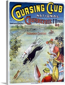Coursing Club, National Courbevoie, Dog Race,Vintage Poster