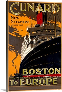 Cunard Line New Steamers Boston To Europe Vintage