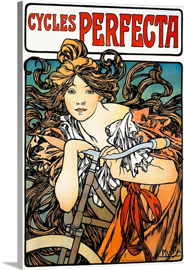 Cycles Perfecta, Vintage Poster, by Alphonse Mucha