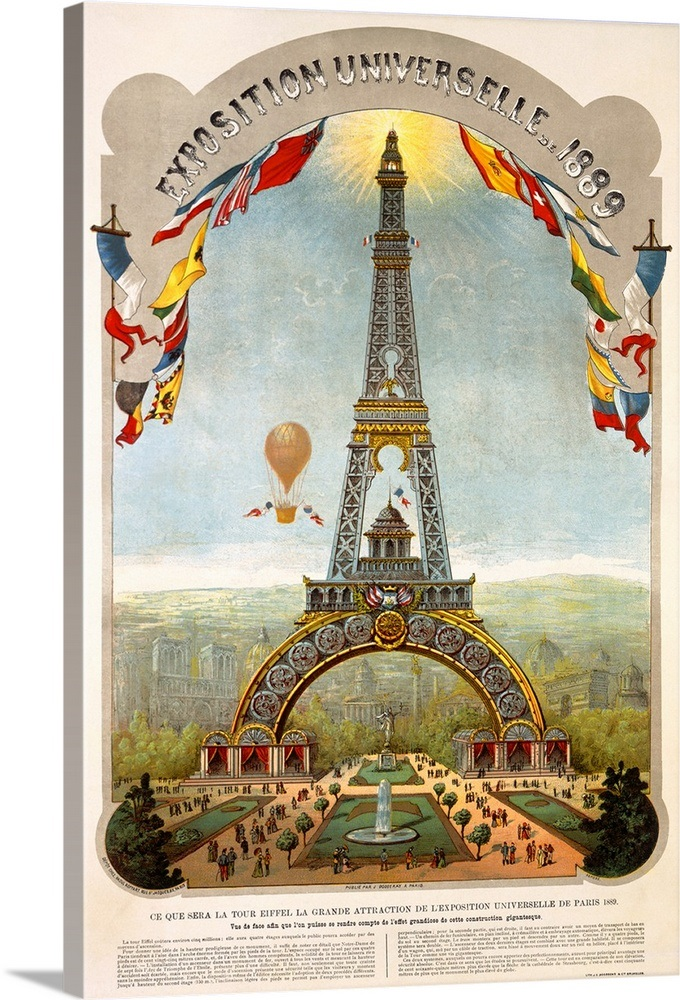 Exposition Universelle 1889 Vintage Poster Wall Art