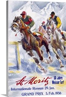 Horse Race, St. Moritz,Vintage Poster, by Hugo Laubi