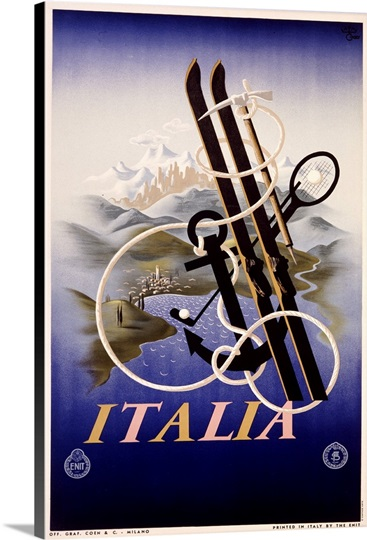Italia, Activities to Enjoy,Vintage Poster