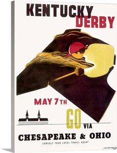 Kentucky Derby Horse Racing Vintage Poster Wall Art