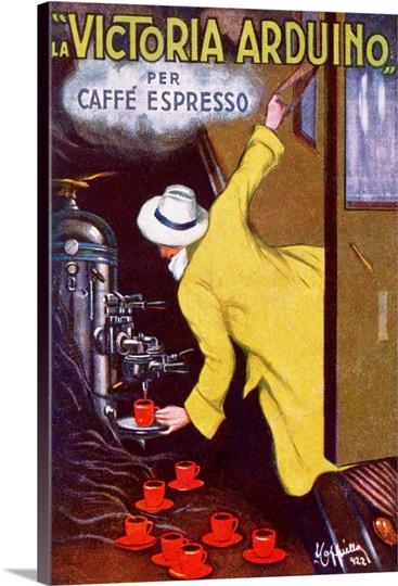 La victoria arduino per caffe espresso vintage poster