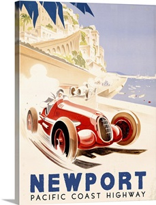Pacific Coast Highway Vintage Advertising Poster Wall Art