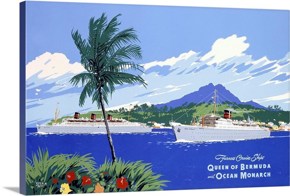 Queen of Bermuda, and Ocean Monarch, Cruise Ships, Vintage ...