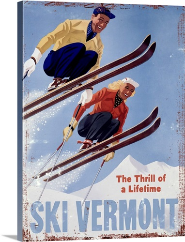 Ski Vermont Vintage Advertising Poster