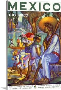 Visit Mexico, Xochimilco, Vintage Poster