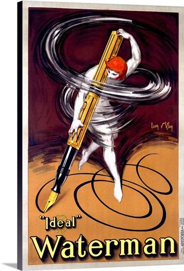 Waterman, Ideal Fountain Pen, Vintage Poster, by Jean DYlen