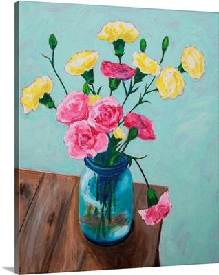 Carnations In Glass Vase
