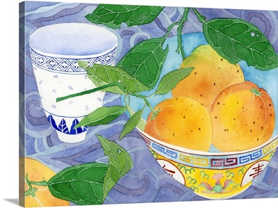 Oranges In A Yellow Bowl