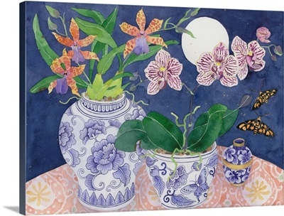 Orchids In Blue And White Porcelain