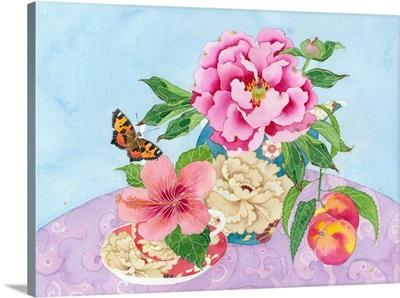 Peonies, Peaches And Hibiscus