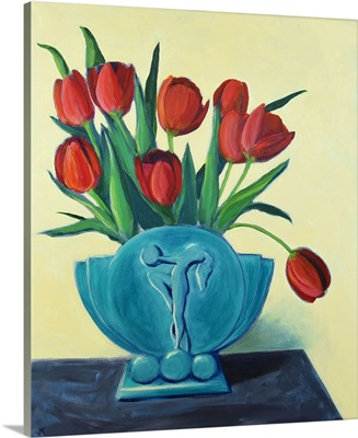 Red Tulips In A Blue Art Deco Vase