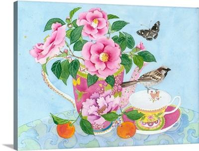 Sparrow And Camellias
