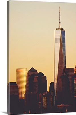 Freedom Tower Closeup At Sunset