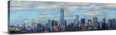 Lower Manhattan Panaromic View With Empire State Building