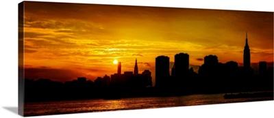 Manhattan Panoramic View At Sunset