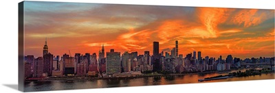 Manhattan Panoramic View On East River At Sunset