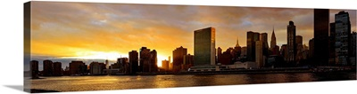Manhattan Skyline View From Roosevelt Island At Sunset