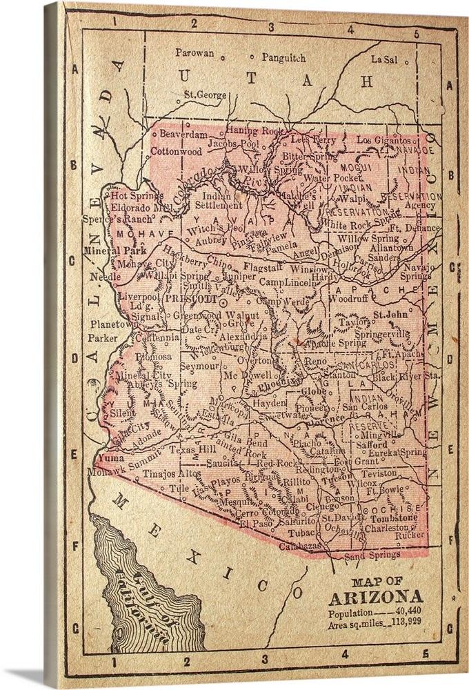 Map Of Arizona 1880.1880 Map Of Arizona