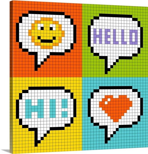 8 Bit Chat Icons Pixel Art Wall Art Canvas Prints Framed