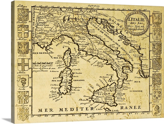Antique map of Italy framed by territorial crests Wall Art, Canvas ...