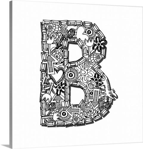 B - Doodle Letter Art Wall Art, Canvas Prints, Framed Prints, Wall ...