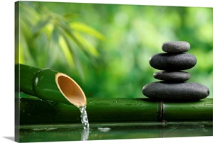 Bamboo Fountain And Zen Stones Wall Art Canvas Prints