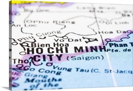 Close Up Of Ho Chi Minh City (Saigon), Vietnam, On Map Wall Art ...