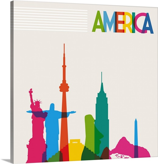 Colorful silhouettes of American landmarks