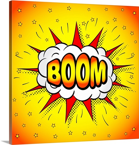 Comic Book Illustration of the word Boom Wall Art, Canvas Prints ...